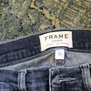 Blue frame skinny jeans